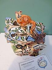 NEW w/ Tag BLUE SKY CLAYWORKS Kitty's Tree House Votive Candle Holder - w/ COA