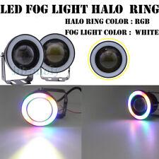 "2pcs 3"" COB LED Fog Light Car Lamp White & RGB Angel Eye Halo Ring DRL Bulb 12v"