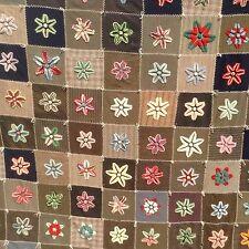 Antique Mennonite Star Quilt Stumpwork Plushwork Chenille Flowers Wool Squares