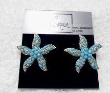 Sequin Starfish Gold/Turq Earrings