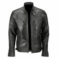 Men's Biker Quilted Vintage Black Motorcycle Cafe Racer Leather Jacket