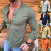 Mens Long Sleeve V Neck T-Shirt Muscle Tee Casual Slim Blouse Tops Henley Shirts