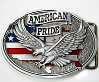 American Pride Eagle USA Flag Pewter Belt Buckle Patriot US