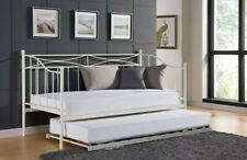 Single White Grey Paris Metal Day bed Trundle Guest Pull Out Bed With Mattress