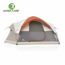 Orange 6 Person Camping Tent w/ Welded Floors & Inverted Seams for Waterproofing