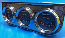 NEW CP7996 Sunpro Chrome 2 Inch Oil, Water and Volts Triple Mechanical Gauge
