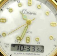 Dissoni Digital Analog Chrono Alarm Date Glo Hands Brown 3atm New Batt Men Watch