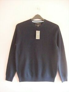 Men's M&S Large To Fit 41 - 43 in Chest Navy Blue Cotton Blend Jumper NEW