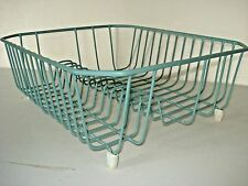Vintage AQUA/Turquoise Plastic/Vinyl Coated Wire DISH DRAINER Rack Plates