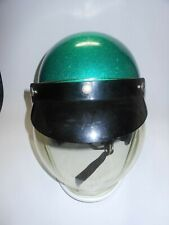 Vintage green Helmet With Snap-On Bubble Shield ~ visor clear