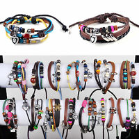 Lots 12pcs Women Unisex Leather Hemp Rope Handmade Bracelet Wristband Jewelry