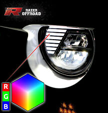 LED Black Headlight RGB LED DRL+Hi+Lo Beam+Cree fit 07-17 Jeep JK Wrangler