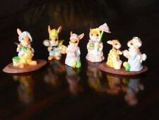 "Bunny Rabbit Figurine with Easter Eggs Resin 2.5"" Tall ~ LOT OF 5"