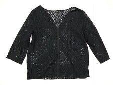 Talbots split v neck eyelet embroidered sheer 3/4 sleeve top black medium petite