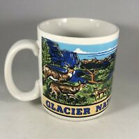 Vintage Illustrated Glacier National Park Montana Coffee Mug featuring Wildlife