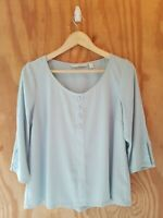 LC LAUREN CONRAD Women's Blouse Top 3/4 Sleeve Scoop Neck Polyester Green.Size M