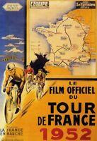 Tour De France 1952 Panneau Métallique Plaque Voûté Métal en Étain 20 X 30 CM