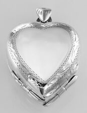 Sterling Silver Heart Locket Border Design 4 Photo Large Clover - Free Shipping
