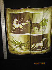 Vintage St Michael Satin Foulard Equestrian Horse Motif Scarf Made in Italy