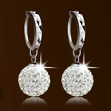 Classic Crystal Disco Ball Charms Silver Plated  Hoop Earrings Jewelry