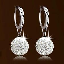 Fashion Womens Clear Crystal Disco Ball Beads Charm Dangle Hoop Earrings Jewelry