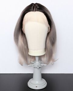 Gray/Ash Blonde Synthetic Heat Safe Handtied GlueLess Lace Front Wig