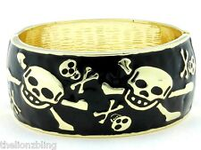 Gothic Punk Biker Hinged Bangle Bracelet Gold with Black Skulls