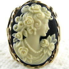 Rose Goddess Cameo Ring 14K Rolled Gold Jewelry Cream Resin Any Size