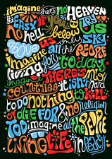 JOHN LENNON IMAGINE LYRICS TYPOGRAPHY PSYCHEDELIC  280GSM SATIN PAPER WALL ART