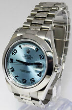 Rolex Day Date II Platinum Glacier Blue Dial Mens Watch Box/Papers 2015 218206