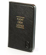 Flight Crew License black Leather Case ID Holder for Pilot best gift