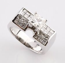 18K White Gold 2.00 carat Diamond Princess Cut Solitaire with Accent Ring Size 6