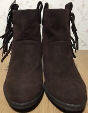 New size 7 Ladies Rocket Dog Ankle Boots Dark Brown Western Cowboy Style Tassels