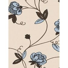 Contemporary Ice Blue and Brown Floral on Beige Wallpaper SW29205