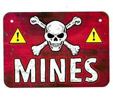 Metal Sign MINES land mine field military war danger warning skull & crossbones