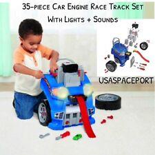 Kids 35-piece Engine +Race Track Set Lights+Sounds Building Set +3 die-cast Cars