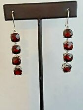 925 MLD thailand colored stone dangle earrings