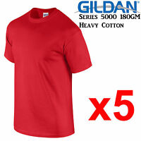 Gildan T-SHIRT Red blank plain tee S M L XL 2XL XXL Men's Heavy Cotton Premium