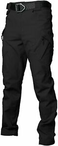 Les umes Mens Cargo Work Trousers Ripstop Tactical Combat Hiking Pants Black S