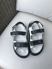 CHANEL CC Logo Black White Leather Sport Chunky Trendy Sandal Sz 41 9.5 10