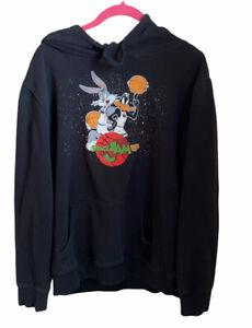 Looney Tunes Space Jam Hoodie Sweatshirt Black 90's Bugs Daffy