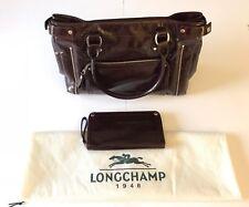 Longchamp Patent Leather Handbag & Wallet, Brown