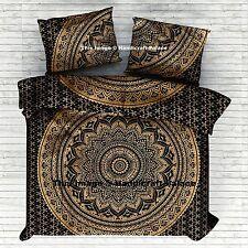 Oro Indiano Ombre Mandala Regina Copripiumino Coperta Consolatore Impostato Arte