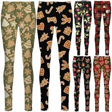 Ladies Leggings Ginger Bread Candy Check Tartan Santa Star Reindeer Penguin Xmas