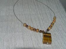 Estate Pinkish Brown Wood Beads & Tigereye Stone Rectangle Pendant on SIlvertone