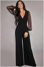 Women Black V Neck Long Sleeve Jumpsuit Romper Wide Leg Pants Trousers Clubwear