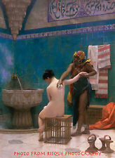 """Nude Woman Bathing In Harem 8.5x11"""" Photo Print Naked Female Painting Gérôme"""