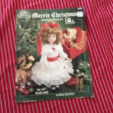 """Merrie Christmas 14"""" Doll Dress Crochet Pattern  -"""