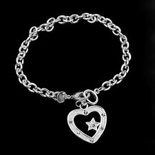 925 Silver Star Heart Chain Rhinestone Elegant Bracelet Bangle Lady Jewelry Sl19