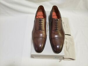 SANTONI Men's Brown Leather CapToe Oxfords Size 9.5D/9UK